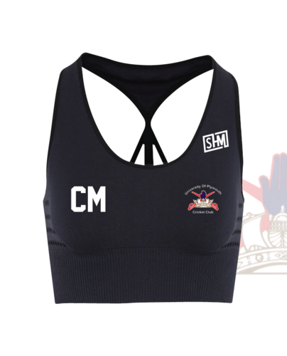 University Of Plymouth Cricket Navy Womens Sports Bra (All Print)