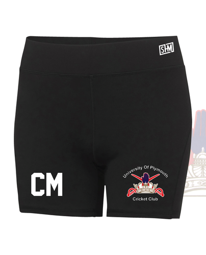University Of Plymouth Cricket Black Tight Shorts (All Print)