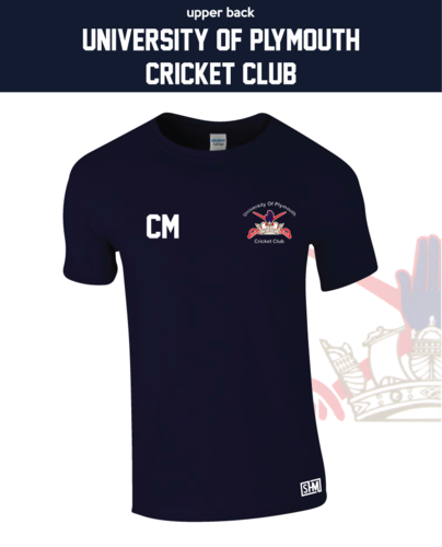 University Of Plymouth Cricket Navy Unisex Cotton Tee (All Print)