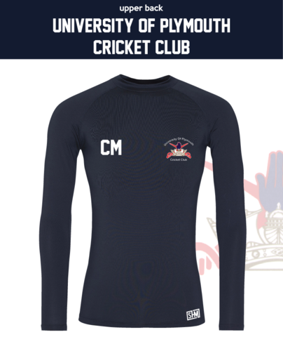 University Of Plymouth Cricket Navy Mens Baselayer (All Print)