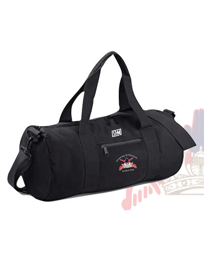 University Of Plymouth Cricket Black Barrel Bag (All Print)