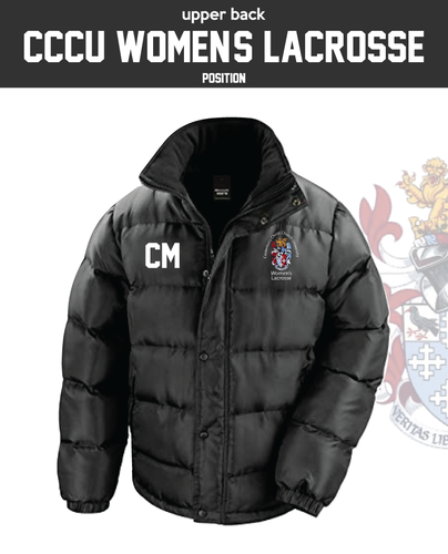 CCCU Womens Lacrosse Black Unisex Fleece Lined Puffa (Logo Embroidery, Everything Else Print)