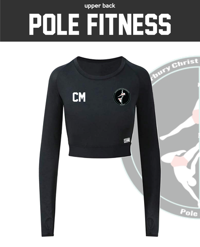 CCCU Pole Black Womens Long Sleeve Crop Top (All Print)