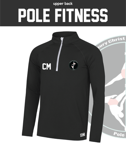 CCCU Pole Black Mens Performance Sweatshirt (Logo Embroidery, Everything Else Print)