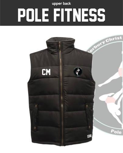 CCCU Pole Black Unisex Gilet (Logo Embroidery, Everything Else Print)