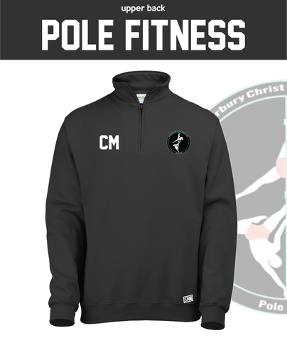 CCCU Pole Black Unisex 1/4 Zip Sweatshirt (Logo Embroidery, Everything Else Print)