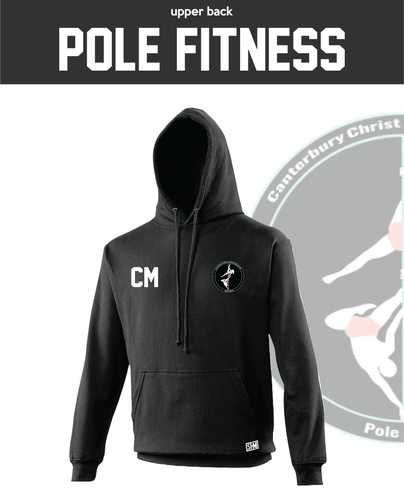 CCCU Pole Black Unisex Hoodie (Logo Embroidery, Everything Else Print)
