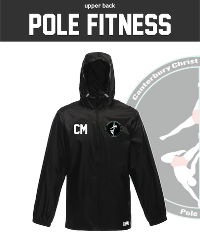 CCCU Pole Black Unisex Windbreaker (Logo Embroidery, Everything Else Print)