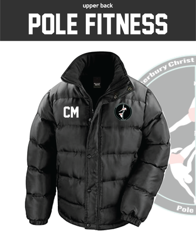 CCCU Pole Black Unisex Fleece Lined Puffa (Logo Embroidery, Everything Else Print)