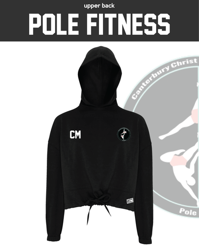 CCCU Pole Black Womens Cropped Hoodie (Logo Embroidery, Everything Else Print)