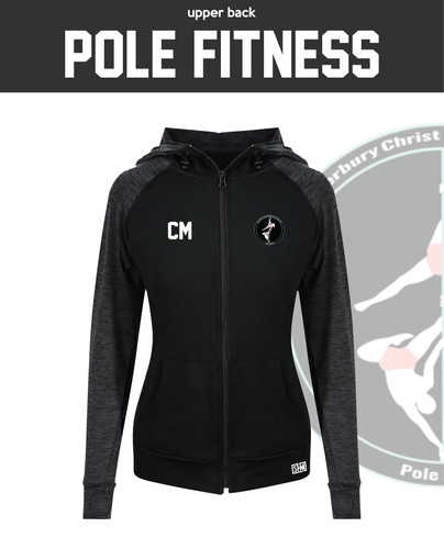 CCCU Pole Black Womens Contrast Hoodie (Logo Embroidery, Everything Else Print)