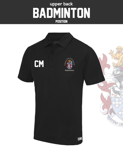 CCCU Badminton Black Womens Performance Polo (Logo Embroidery, Everything Else Print)