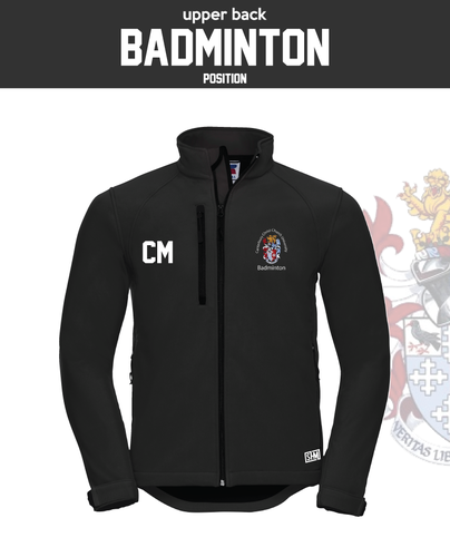CCCU Badminton Black Mens Softshell (Logo Embroidery, Everything Else Print)