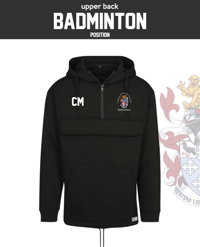 CCCU Badminton Black Mens Pull Over (Logo Embroidery, Everything Else Print)