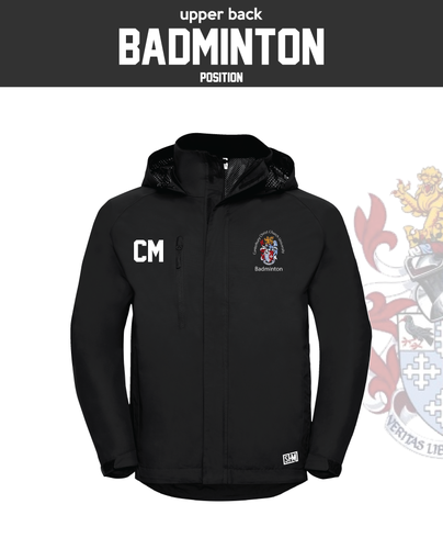 CCCU Badminton Black Mens Hydroplus Jacket (Logo Embroidery, Everything Else Print)