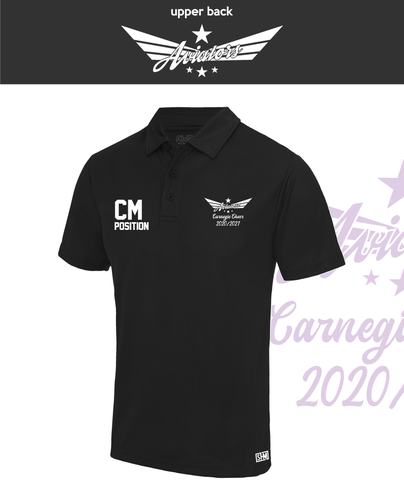Carnegie Cheer Black Womens Performance Polo (Logo Embroidery, Everything Else Print)