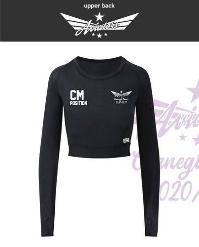 Carnegie Cheer Black Womens Long Sleeved Crop Top (All Print)