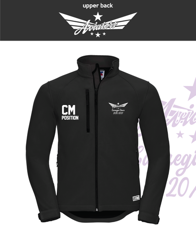 Carnegie Cheer Black Womens Softshell (Logo Embroidery, Everything Else Print)