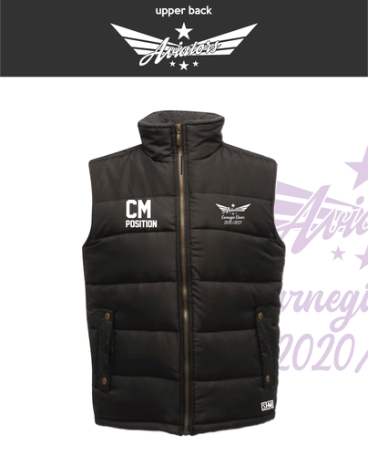 Carnegie Cheer Black Unisex Gilet (Logo Embroidery, Everything Else Print)
