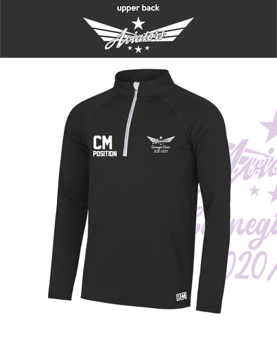 Carnegie Cheer Black Womens Performance Sweatshirt (Logo Embroidery, Everything Else Print)