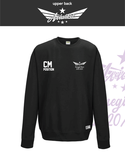 Carnegie Cheer Black Unisex Sweatshirt (Logo Embroidery, Everything Else Print)