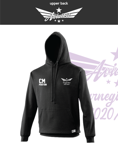 Carnegie Cheer Black Unisex Hoodie (Logo Embroidery, Everything Else Print)
