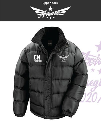 Carnegie Cheer Black Unisex Fleece Lined Puffa (Logo Embroidery, Everything Else Print)