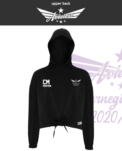 Carnegie Cheer Black Womens Cropped Hoodie (Logo Embroidery, Everything Else Print)