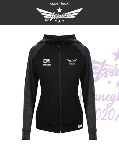 Carnegie Cheer Black Womens Contrast Hoodie (Logo Embroidery, Everything Else Print)