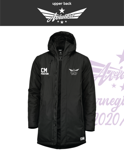 Carnegie Cheer Black Unisex Sub Jacket (Logo Embroidery, Everything Else Print)