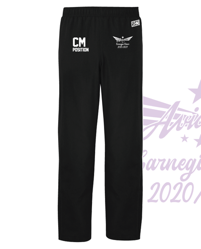 Carnegie Cheer Black Unisex Trackies (Logo Embroidery, Everything Else Print)