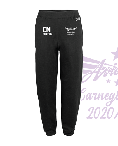 Carnegie Cheer Black Unisex Sweatpants (Logo Embroidery, Everything Else Print)