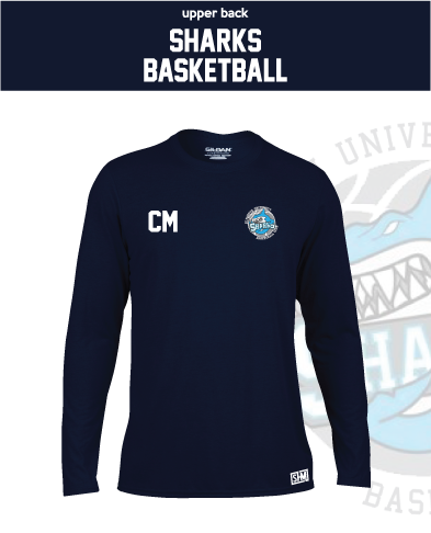 Plymouth University Basketball Navy Mens Long Sleeve Performance Tee (All Print)