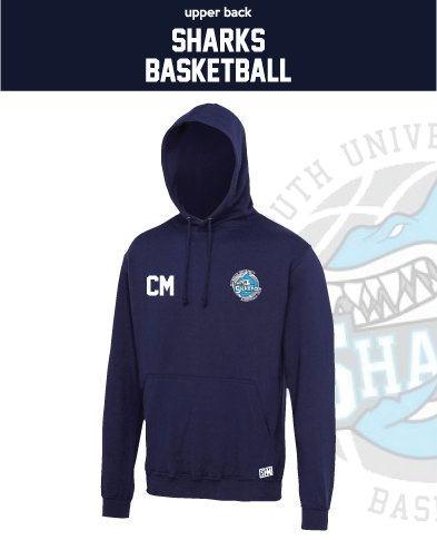 Plymouth University Basketball Navy Unisex Hoodie (Logo Embroidery, Everything Else Print)
