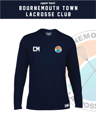 Bournemouth Town Lacrosse Navy Mens Long Sleeve Performance Tee (All Print)