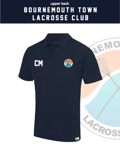 Bournemouth Town Lacrosse Navy Unisex Performance Polo (Logo Embroidery, Everything Else Print)
