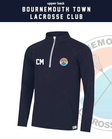 Bournemouth Town Lacrosse Navy Mens Performance Sweatshirt (Logo Embroidery, Everything Else Print)
