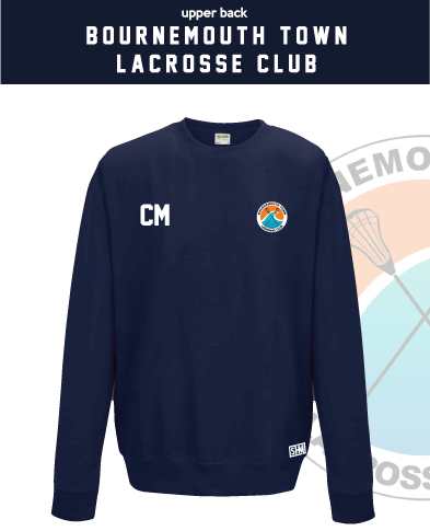 Bournemouth Town Lacrosse Navy Unisex Sweatshirt (Logo Embroidery, Everything Else Print)