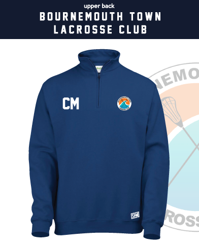 Bournemouth Town Lacrosse Navy Unisex 1/4 Zip Sweatshirt (Logo Embroidery, Everything Else Print)