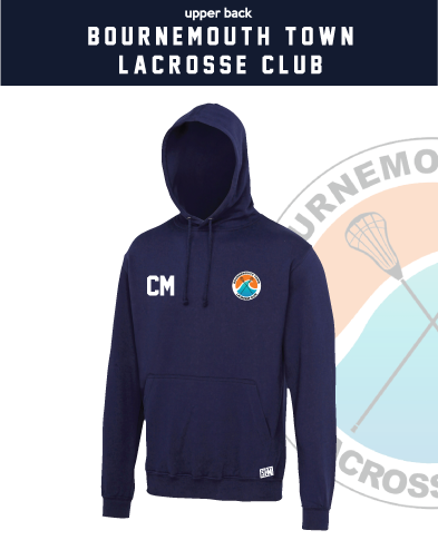 Bournemouth Town Lacrosse Navy Unisex Hoodie (Logo Embroidery, Everything Else Print)