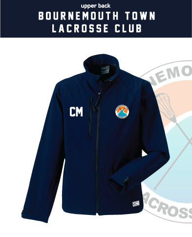 Bournemouth Town Lacrosse Navy Mens Softshell (Logo Embroidery, Everything Else Print)