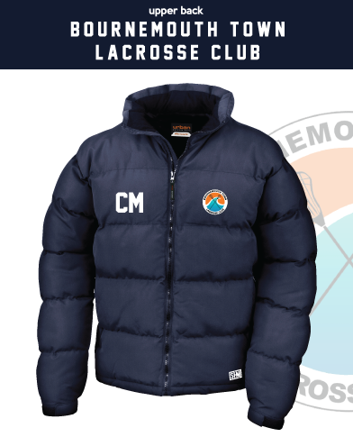 Bournemouth Town Lacrosse Navy Unisex Puffa (Logo Embroidery, Everything Else Print)