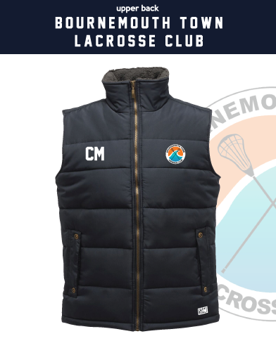 Bournemouth Town Lacrosse Navy Unisex Gilet (Logo Embroidery, Everything Else Print)