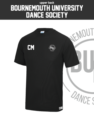 Bournemouth University Dance Black Mens Performance Tee (All Print)