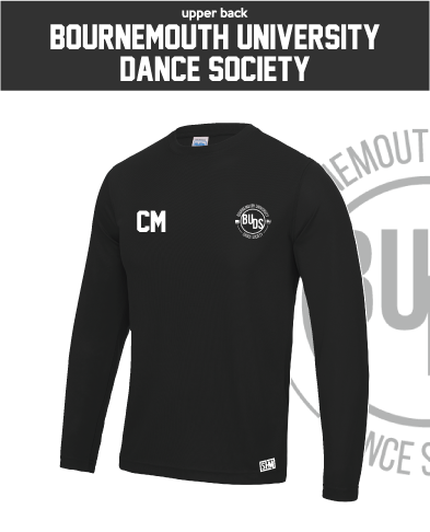 Bournemouth University Dance Black Unisex Long Sleeve Performance Tee (All Print)
