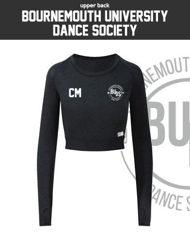 Bournemouth University Dance Black Womens Long Sleeve Crop Top (All Print)