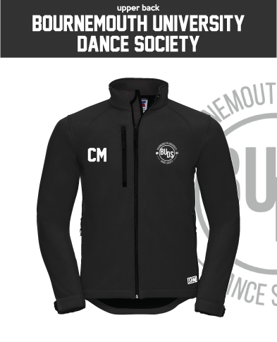 Bournemouth University Dance Black Mens Softshell (Logo Embroidery, Everything Else Print)
