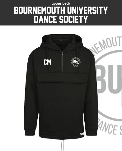 Bournemouth University Dance Black Mens Pull Over (Logo Embroidery, Everything Else Print)
