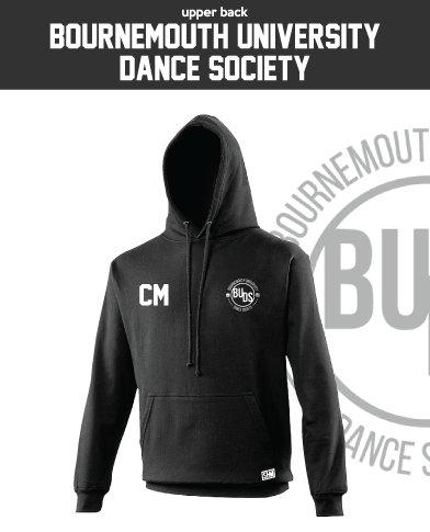 Bournemouth University Dance Black Unisex Hoodie (Logo Embroidery, Everything Else Print)