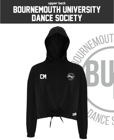 Bournemouth University Dance Black Womens Cropped Hoodie (Logo Emb, Everything Else Print)